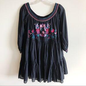 Free People Sunbeams Mini Dress Black Embroidered